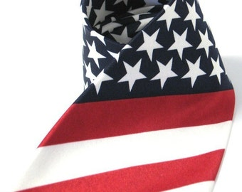 Mens Necktie Flag of the United States Tie Star Pattern