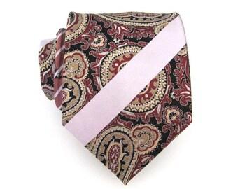 Mens Ties Necktie Maroon Paisley Silk Tie