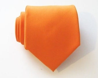 Mens Tie. Orange Tie. Orangered Silk Mens Necktie