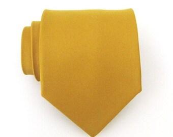 Mens Ties. Necktie Mustard Yellow Mens Silk Tie