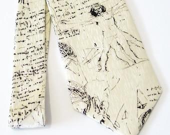 Men Necktie Da Vinci Vitruvian Man Silk Tie