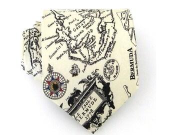 Mens Ties Cream Necktie Bermuda Island Map Silk Mens Necktie