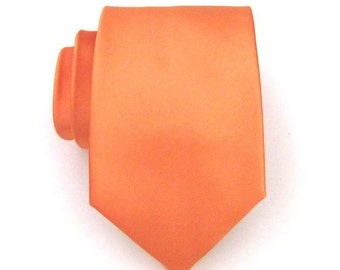 Mens Ties Necktie Orange Silk Mens Tie