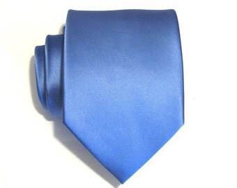 Mens Necktie Periwinkle Blue Silk Tie With Matching Pocket Square Option