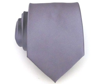 Mens Necktie Gray Silk Mens Tie With Matching Pocket Square Option