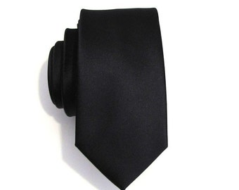 Mens Tie Black Skinny Silk Necktie With Matching Pocket Square Option