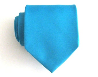 Mens Necktie Aqua Blue Silk Mens Tie