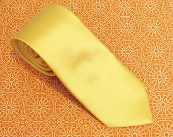 Mens Necktie Gold Yellow Silk Tie With Matching Pocket Square Option
