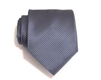 Mens Ties. Necktie Mens Tie - Gray Stripe Silk Tie