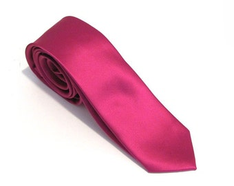 Mens Ties. Necktie Fuchsia Pink Silk Skinny Tie