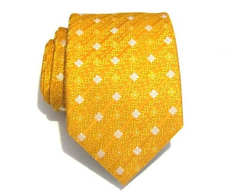 Mens Tie Gold and White Mens Silk Necktie