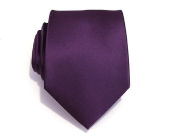 Mens Tie Eggplant Purple Silk Necktie With *FREE* Matching Pocket Square Set