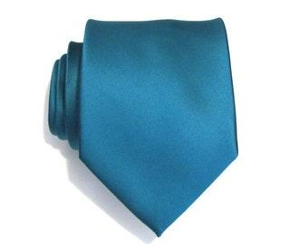 Mens Tie Teal Silk Necktie