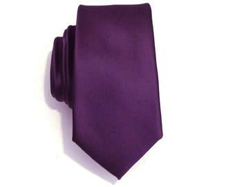 Necktie for Men, Purple Skinny Silk Tie With Matching Pocket Square Option