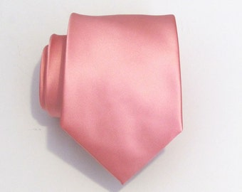 Mens Ties Necktie Pink Silk Tie With Matching Pocket Square Option