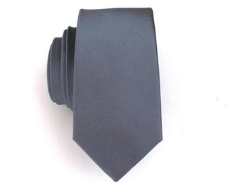 Mens Tie Gray Skinny Silk Necktie With *FREE* Matching Pocket Square Set