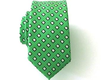 Mens Ties Necktie Green and White Mens Skinny Silk Tie