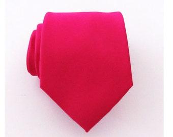 Mens Ties Necktie Fuchsia Berry Silk Tie