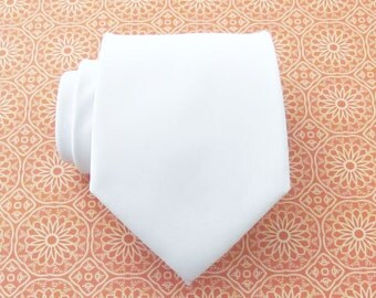 Mens Tie White Silk Necktie