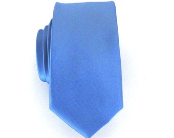 Mens Necktie Periwinkle Blue Skinny Silk Tie With *FREE* Matching Pocket Square Set