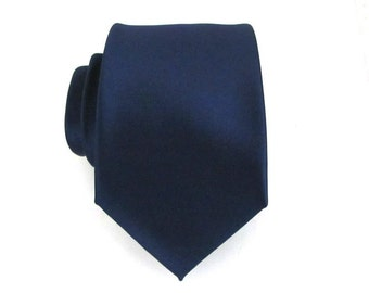 Mens Tie. Dark Navy Blue Silk Necktie With Matching Pocket Square Option