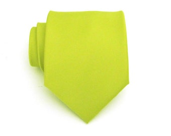 Mens Tie Lime Green Silk Necktie With Matching Pocket Square Option