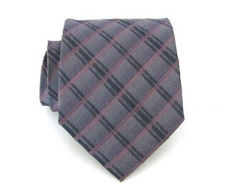 Mens Ties Necktie Blue Gray and Pink Plaid Silk Tie