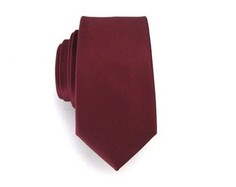 Mens Tie Dark Maroon Burgundy Skinny Silk Necktie With *FREE* Matching Pocket Square Set