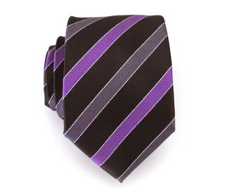 Mens Tie - Brown Purple and Gray Stripe Silk Men's Tie