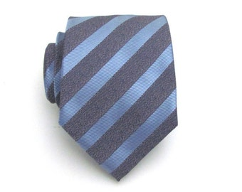 Mens Tie - French Blue and Gray Striped Silk Men's Necktie