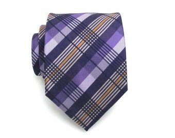 Mens Tie - Purple Plaid Silk Necktie