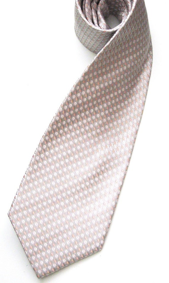 Peach and White Dot Silk Necktie
