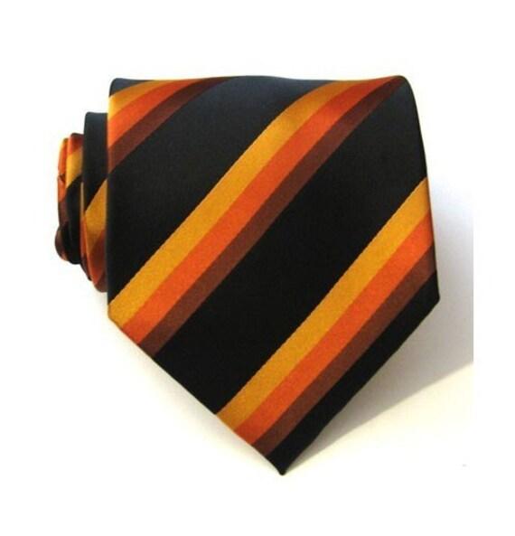 Necktie Sunburst Black and Orange Striped Silk Mens Tie