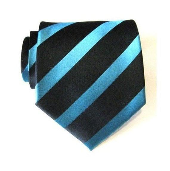 cornflower blue stripe silk tie