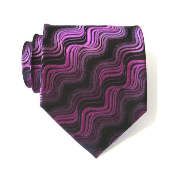 Mens Necktie Dark Purple Wave Silk Necktie