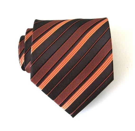 Mens Necktie Chocolate Brown Striped Silk Tie