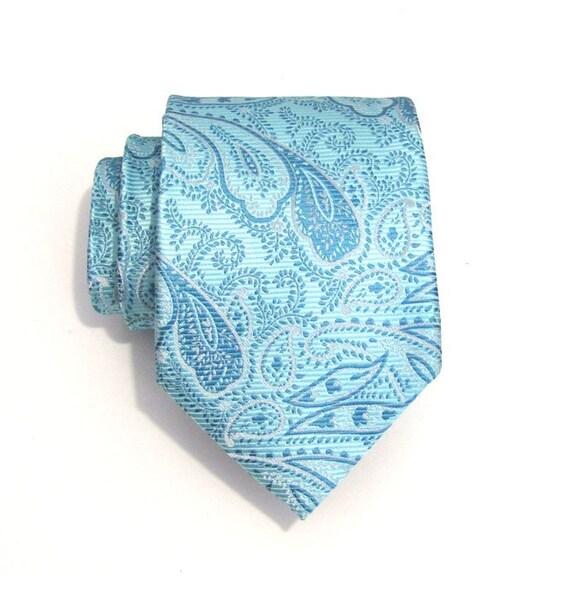 Mens Necktie Blue Paisley Silk Tie