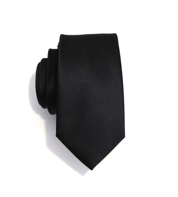 Mens Tie Black Skinny Silk Necktie With Matching Pocket Square Option
