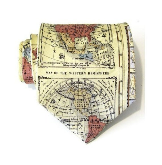 Mens Tie World Map Silk Necktie