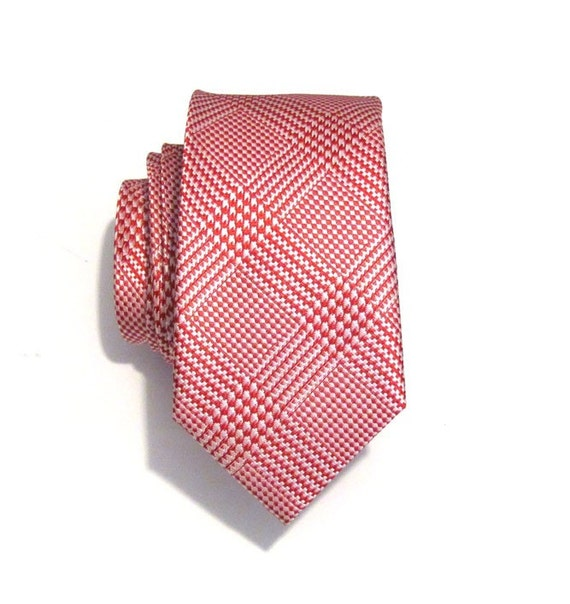 Necktie Mens Tie Red and White Plaid Skinny Silk Tie