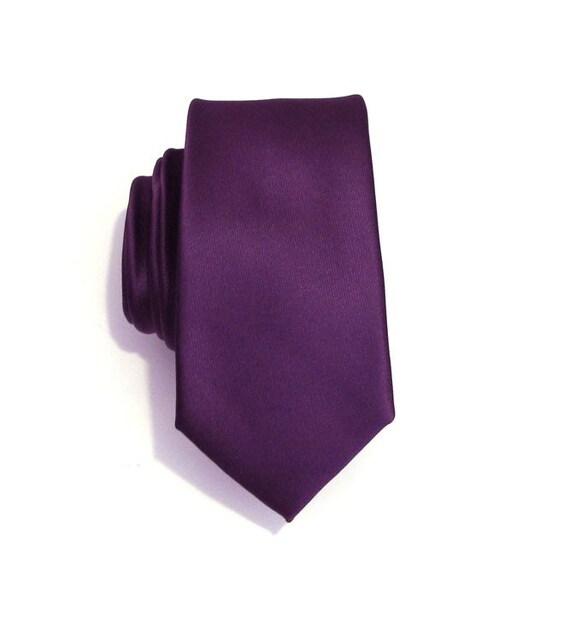 Necktie for Men, Purple Skinny Silk Tie With Matching Pocket Square Option