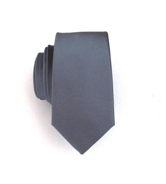 Mens Tie Gray Skinny Silk Necktie With Matching Pocket Square Option