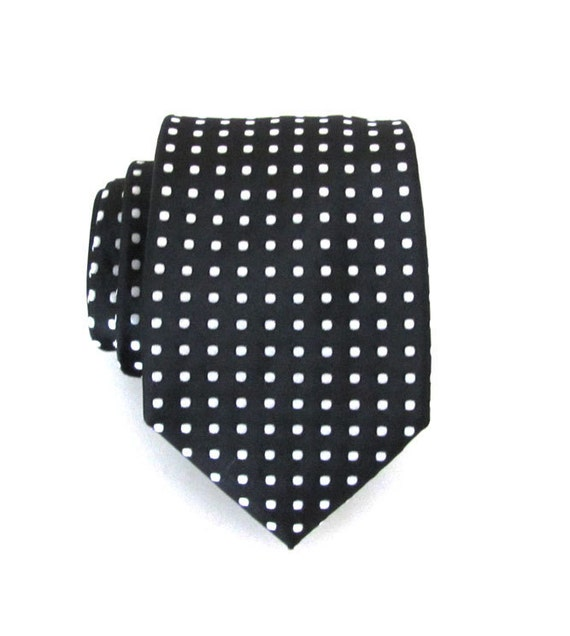 Mens Ties Necktie Black and White Dot Silk Tie