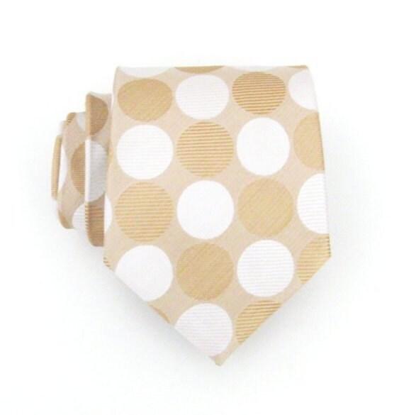 Necktie Beige and White Silk Tie