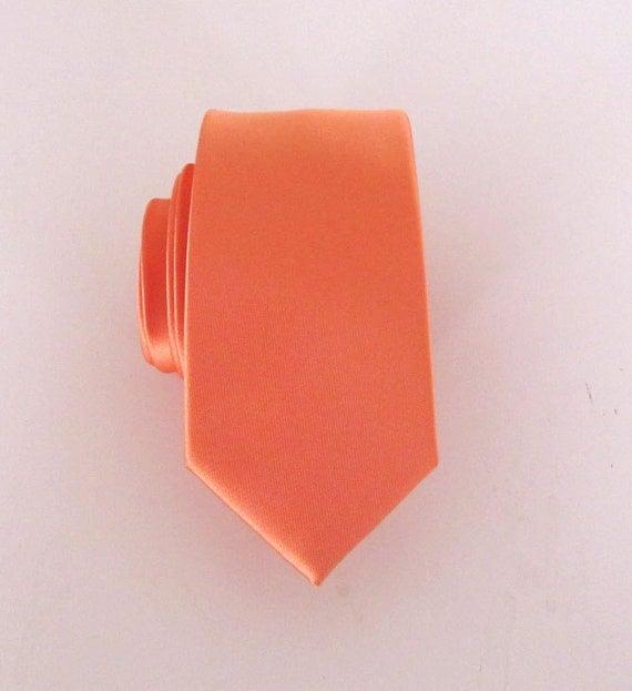 Mens Tie. Men's Necktie Orange Silk Skinny Tie