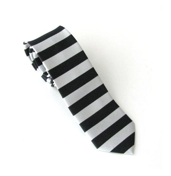 Necktie Black and Off White Striped Skinny Tie