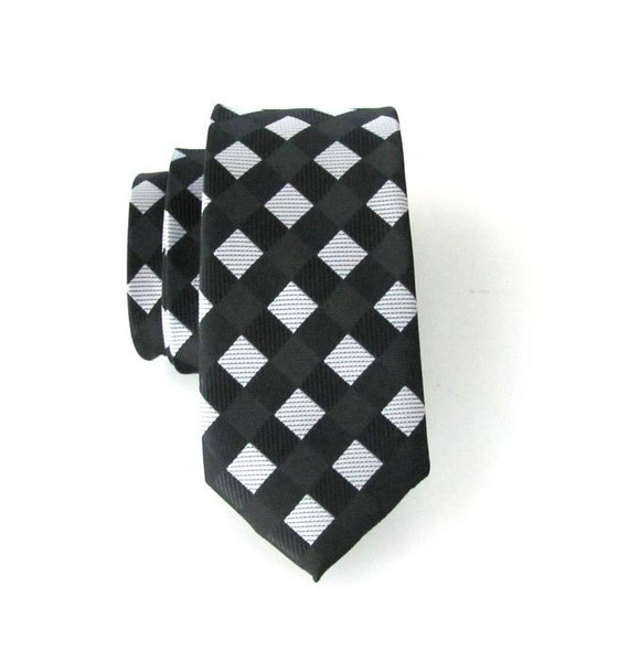 Mens Ties Necktie Black and Off White Skinny Tie