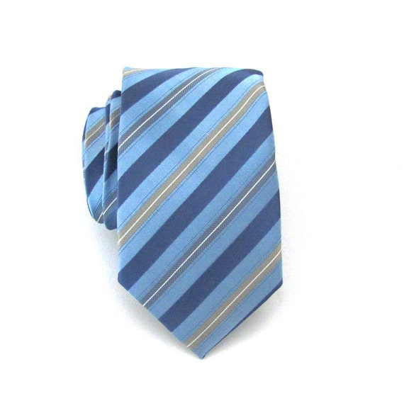 On Sale - Necktie Blue and Tan Striped Skinny Tie