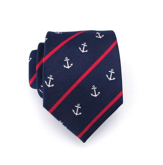 Mens Tie Navy Blue Anchor Nautical Stripe Silk Necktie With Matching Pocket Square Option