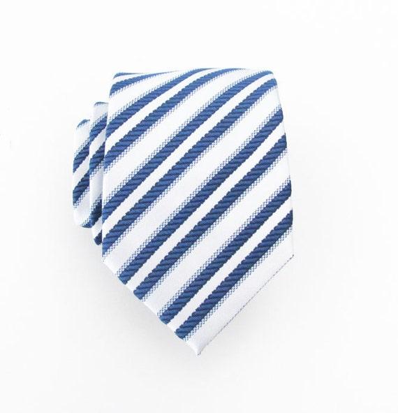 Mens Tie Blue and White Striped Silk Necktie